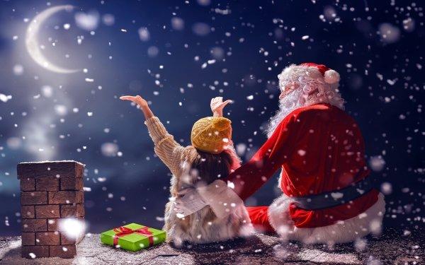 Holiday Christmas Little Girl Santa Night Snowfall HD Wallpaper | Background Image