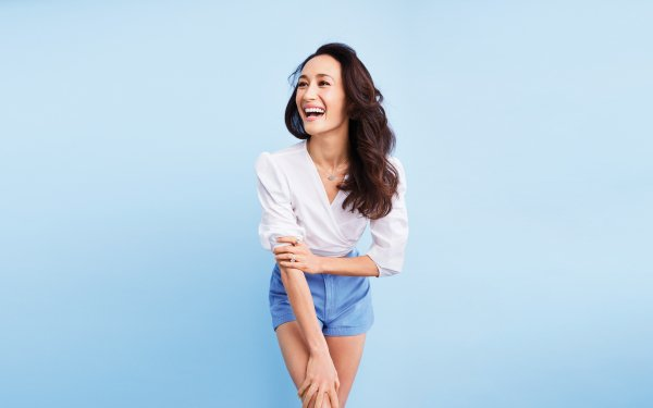 Celebrity Maggie Q Actresses United States Actress Smile Brunette Shorts HD Wallpaper | Background Image