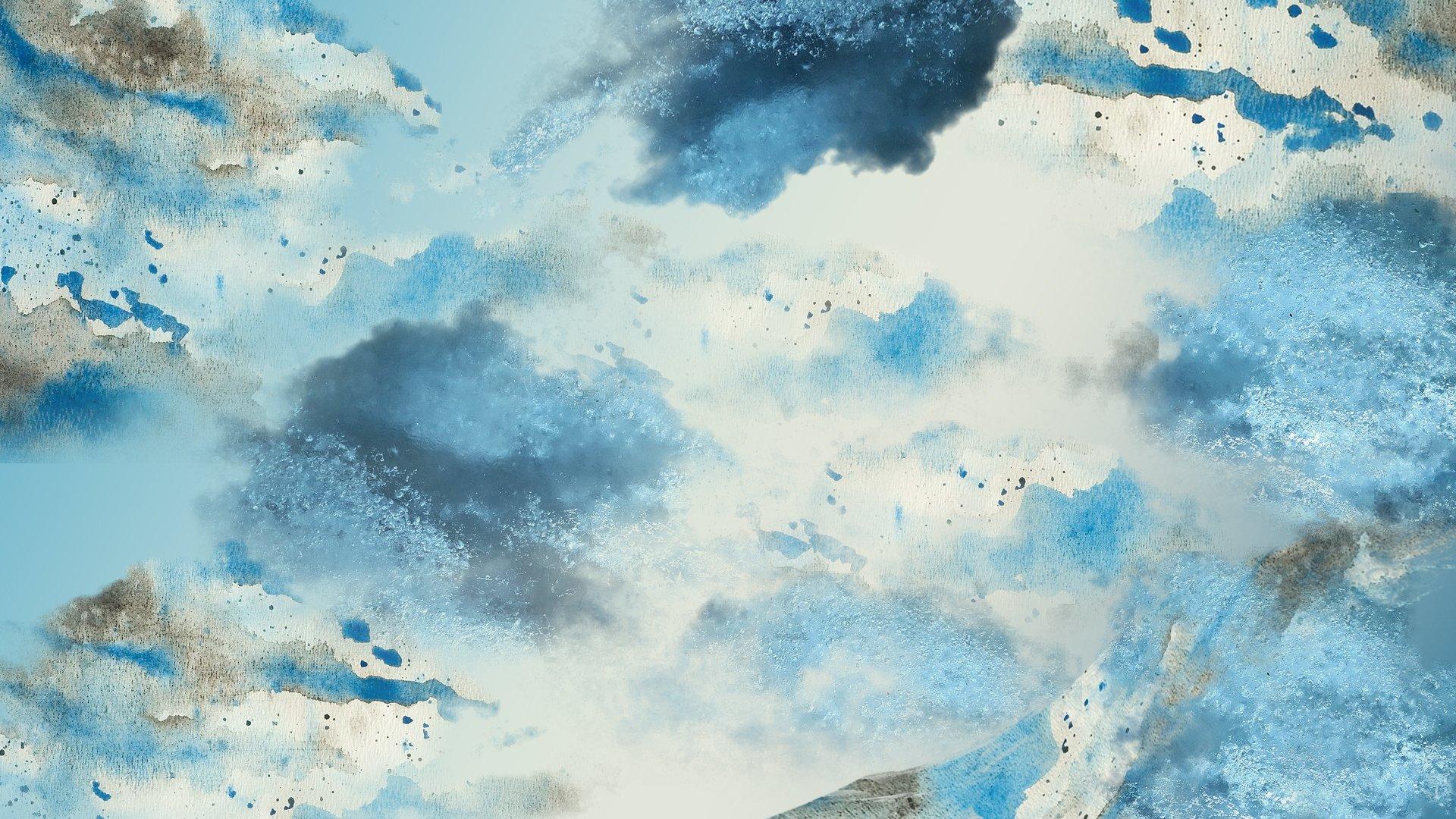 Blue Watercolors Hd Wallpaper Background Image 1920x1080
