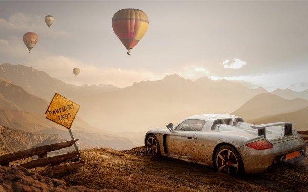 Vehicles Porsche Carrera GT Porsche Car Hot Air Balloon Mountain Artistic HD Wallpaper | Background Image