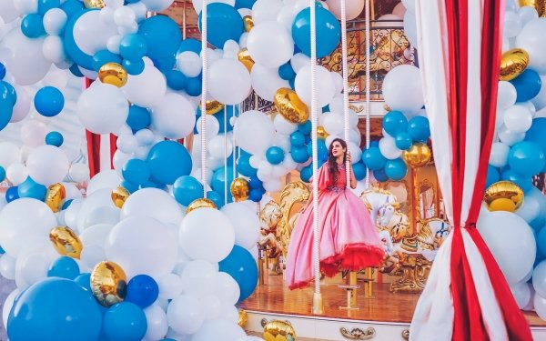Women Model Models Balloon Carousel Dress Brunette Pink Dress Woman HD Wallpaper   Background Image