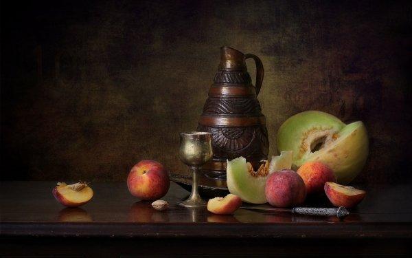 Photography Still Life Knife Pitcher Fruit Peach Melon Honeydew Melon HD Wallpaper | Background Image
