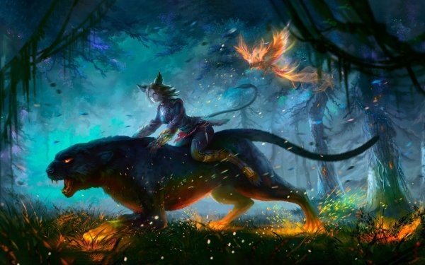 Fantasy Women Forest Phoenix Panther Animal Ears HD Wallpaper   Background Image