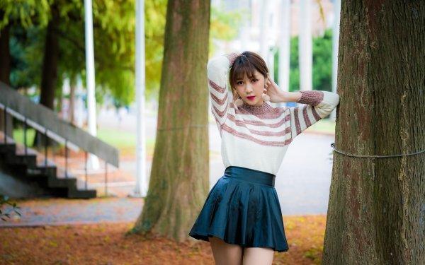 Women Asian Model Skirt Woman Depth Of Field Brunette HD Wallpaper | Background Image