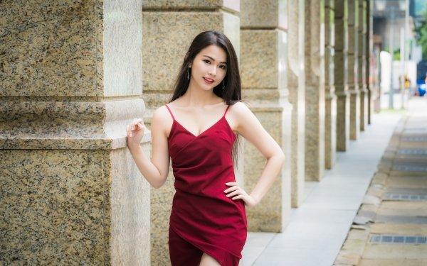 Women Asian Red Dress Woman Model Black Hair Depth Of Field HD Wallpaper | Background Image