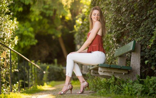 Women Model Models High Heels Bench Blonde Depth Of Field HD Wallpaper   Background Image
