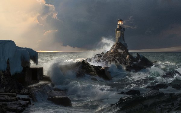 Artistic Lighthouse HD Wallpaper   Background Image