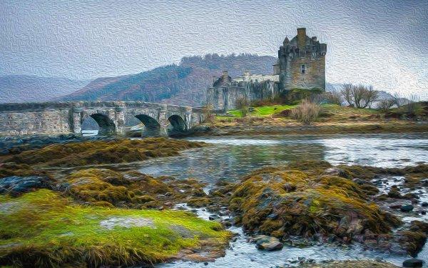 Man Made Eilean Donan Castle Castles United Kingdom Castle Bridge Loch Duich Scotland HD Wallpaper | Background Image