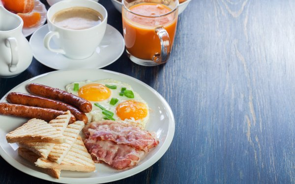 Food Breakfast Bacon Egg Juice Coffee Bread Sausage Cup HD Wallpaper   Background Image