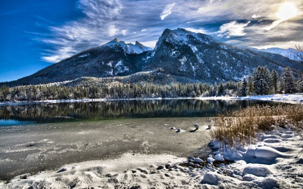 Earth Lake Lakes Mountain Forest Winter Water Reflection Hintersee Bavaria Germany HD Wallpaper | Background Image