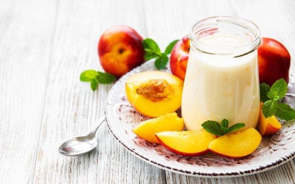 Food Yogurt Nectarine Fruit Still Life HD Wallpaper   Background Image