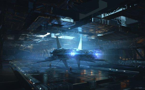 Sci Fi Spaceship Hangar Futuristic HD Wallpaper | Background Image