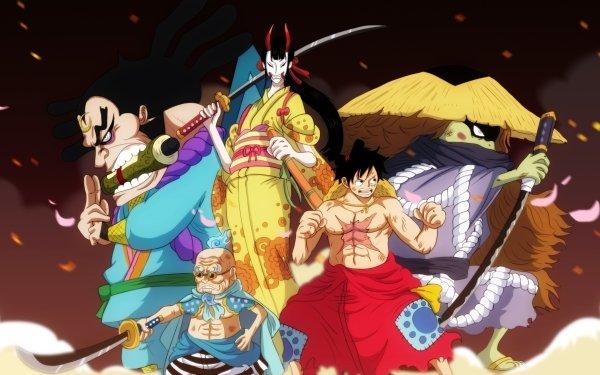 Anime One Piece Kiku Hyogoro Kawamatsu Monkey D. Luffy Raizo HD Wallpaper | Background Image