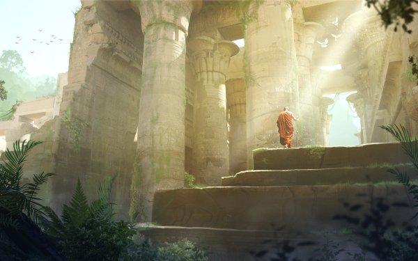 Fantasy Ruin Buddhist HD Wallpaper   Background Image