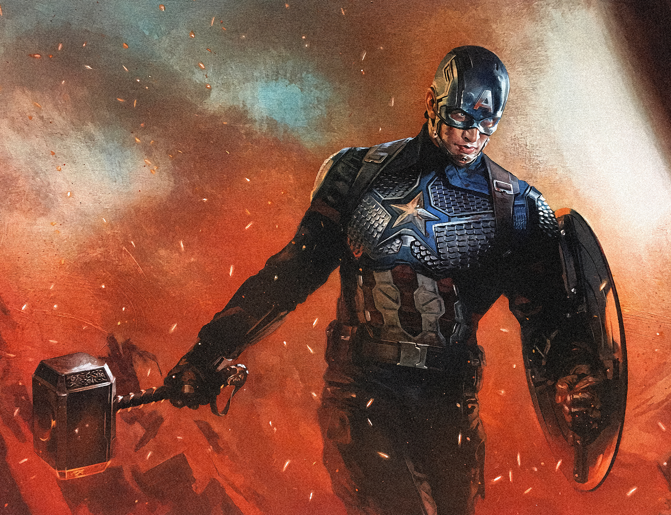 Captain America Mjolnir Hd Wallpaper Background Image