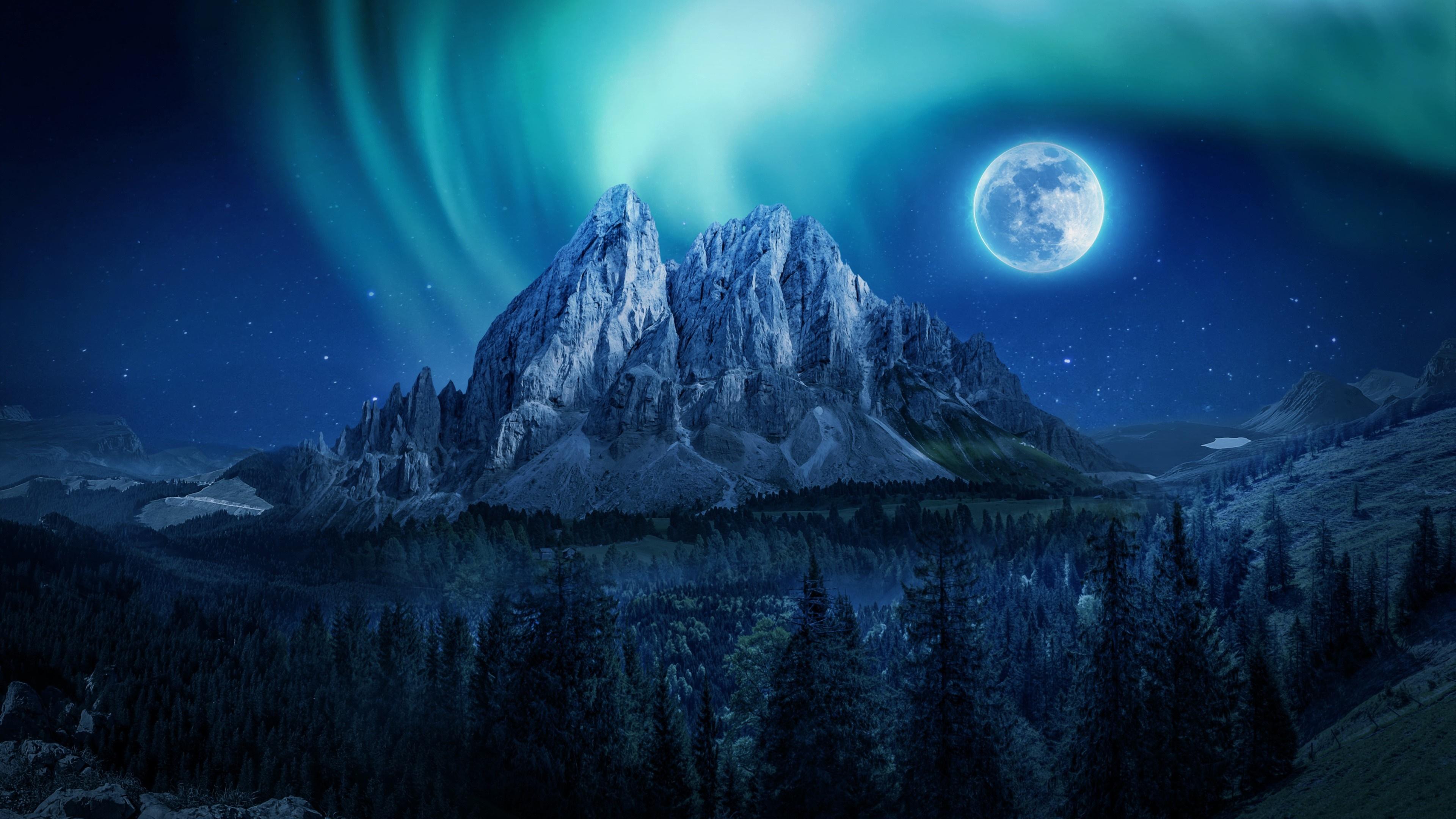 Aurora Borealis And Full Moon Over Mountain 4k Ultra Hd