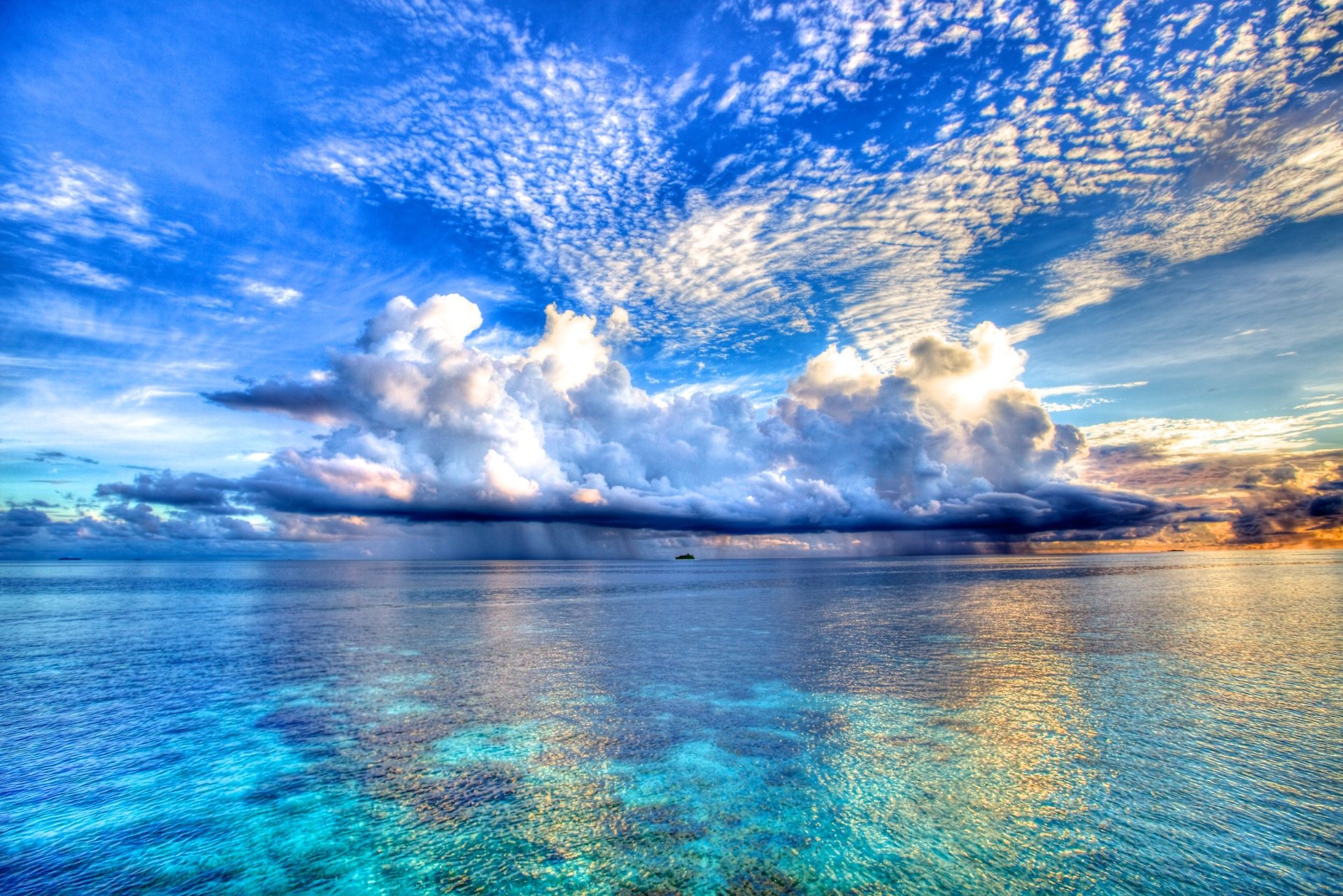 Terra/Natureza - Oceano  Nuvem Paisagem Água Céu Horizon Natureza Maldives Papel de Parede