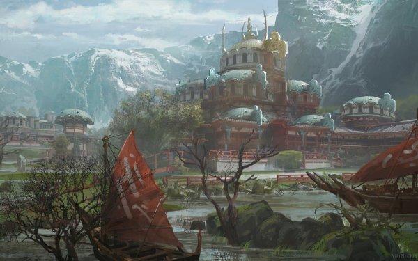 Fantasy Temple Building Boat HD Wallpaper | Background Image
