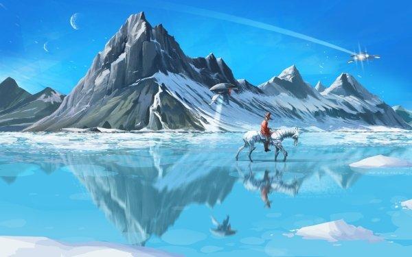 Sci Fi Landscape Mountain Horse Cowboy Spaceship Robot HD Wallpaper | Background Image