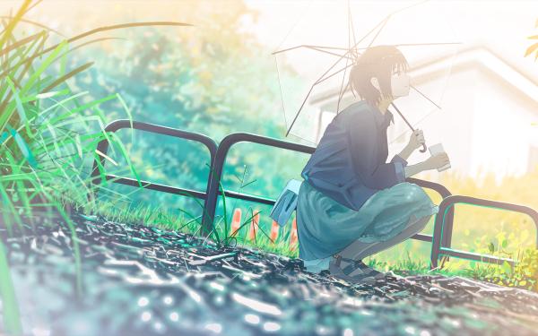 Anime Original Grass Umbrella Black Hair HD Wallpaper | Background Image