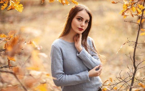 Women Model Models Fall Lipstick Brunette Depth Of Field HD Wallpaper | Background Image