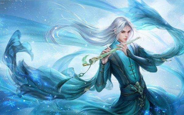 Fantasy Sorcerer Magic Oriental White Hair Flute HD Wallpaper | Background Image