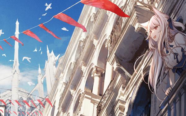 Anime Original White Hair Long Hair Red Eyes HD Wallpaper | Background Image