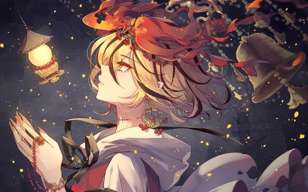 Anime Touhou Yukata Blonde Bell Red Eyes Shou Toramaru HD Wallpaper | Background Image