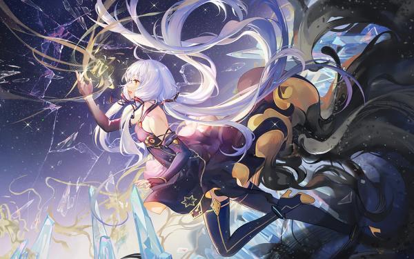 Anime Vocaloid Night Yellow Eyes White Hair Long Hair Dress Xingchen HD Wallpaper   Background Image