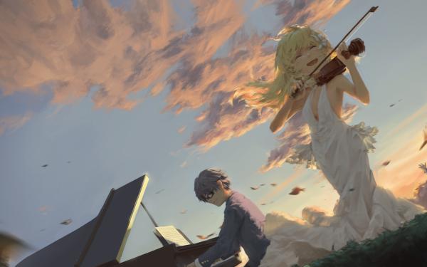 Anime Your Lie in April Kousei Arima Kaori Miyazono Tsubaki Sawabe Ryota Watari HD Wallpaper   Background Image