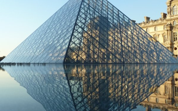 Man Made The Louvre Buildings Museum Pyramid France Paris Fountain Water Reflection HD Wallpaper | Background Image