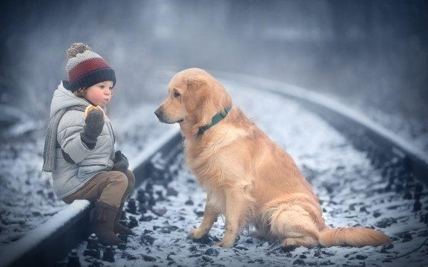 Photographie Enfant Animaux Golden Retriever Garçon Chien Hiver Pet Fond d'écran HD | Arrière-Plan