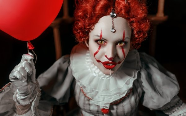 Women Cosplay Girl Clown Pennywise Red Hair Lipstick HD Wallpaper | Background Image