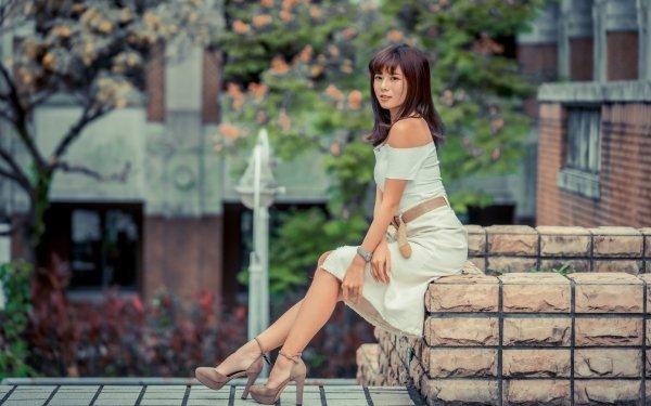 Women Asian Woman Model White Dress Depth Of Field Black Hair High Heels HD Wallpaper | Background Image