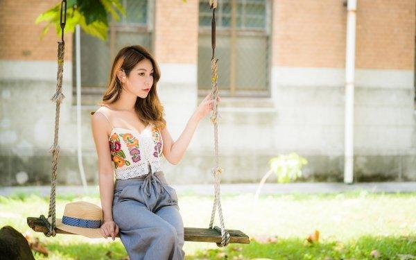 Women Asian Swing Woman Model Brunette Depth Of Field HD Wallpaper | Background Image