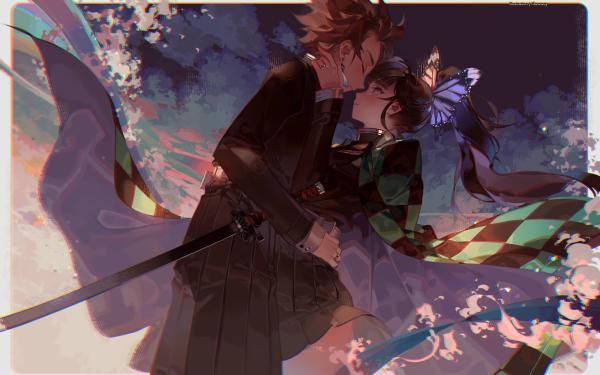 Anime Demon Slayer: Kimetsu no Yaiba Tanjiro Kamado Kanao Tsuyuri HD Wallpaper   Background Image