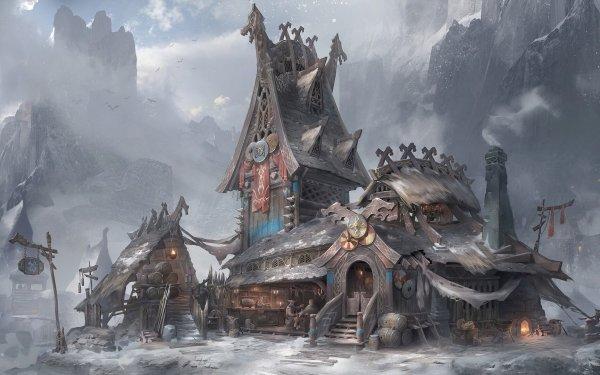 Fantasy Building Buildings Viking Tavern HD Wallpaper   Background Image