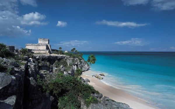 Man Made Tulum Mexico Archeological Site Beach HD Wallpaper   Background Image