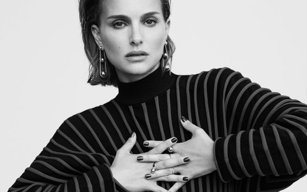 Celebrity Natalie Portman Actresses United States American Israeli Actress Short Hair Black & White HD Wallpaper   Background Image