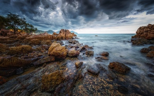 Earth Coastline Coast Ocean Thailand Rock Cloud Seascape HD Wallpaper | Background Image