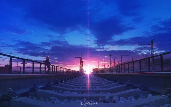 Anime Original Sky Sunrise Railroad HD Wallpaper | Background Image