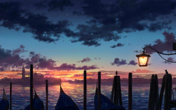 Anime Original City Sunset Lake HD Wallpaper   Background Image