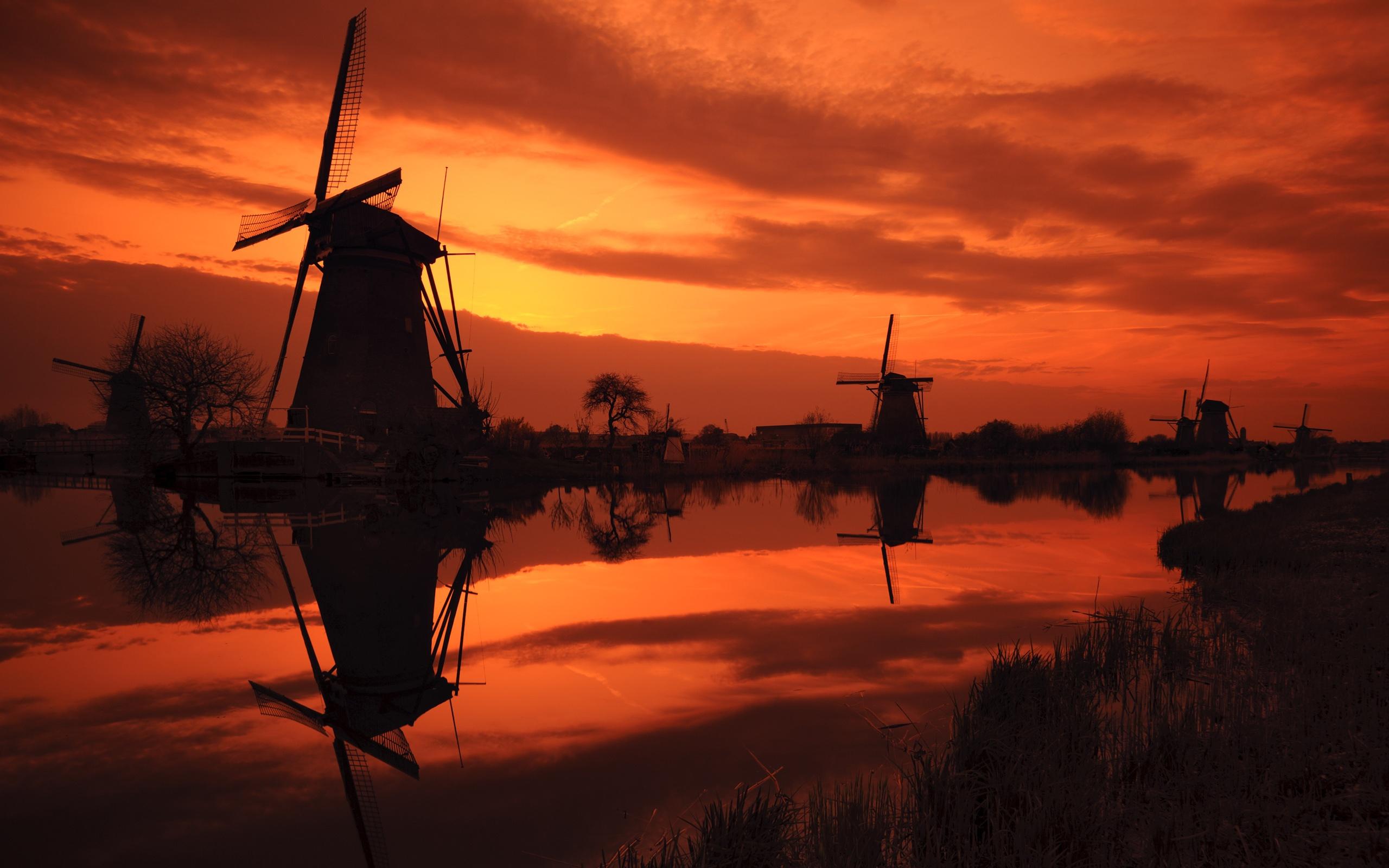 Image De Synthèse - Sunset  Moulin à Vent Ciel Fond d'écran