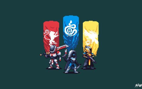Video Game Destiny 2 Destiny Hunter Titan Warlock Pixel Art HD Wallpaper | Background Image