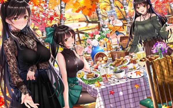 Anime Azur Lane Long Hair Black Hair Animal Ears Takao Atago Maya Choukai HD Wallpaper | Background Image