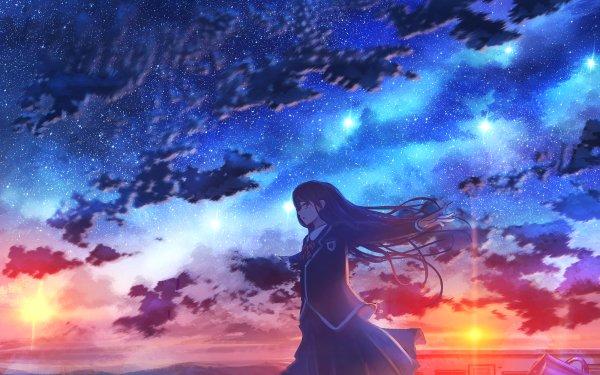 Anime Original Girl Long Hair Sky Starry Sky Sunset HD Wallpaper   Background Image