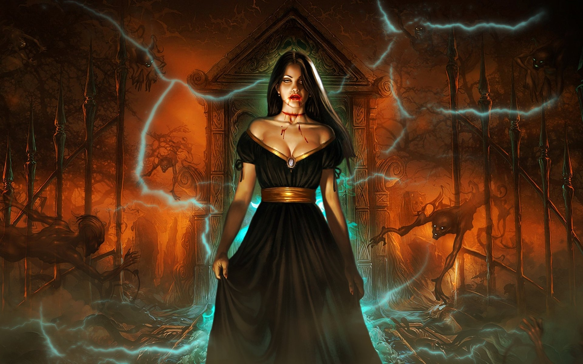 Dark - Vampire  Graveyard Devil Gate Woman Beautiful Dark Fantasy Wallpaper