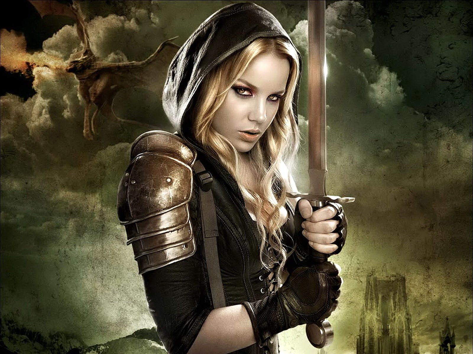 Movie - Sucker Punch  Sweet Pea (Sucker Punch) Movie Sword Hood Armor Wallpaper