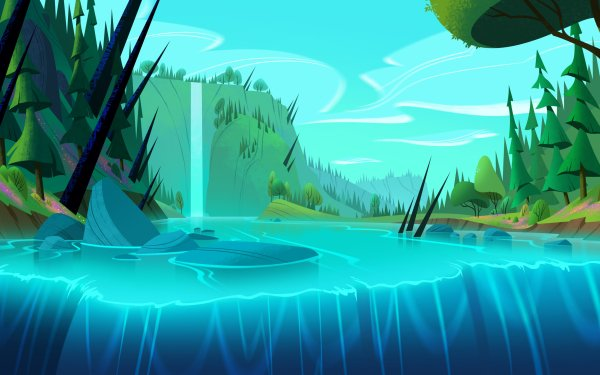 TV Show Tangled: The Series Waterfall Tangled Sky Tree HD Wallpaper   Background Image