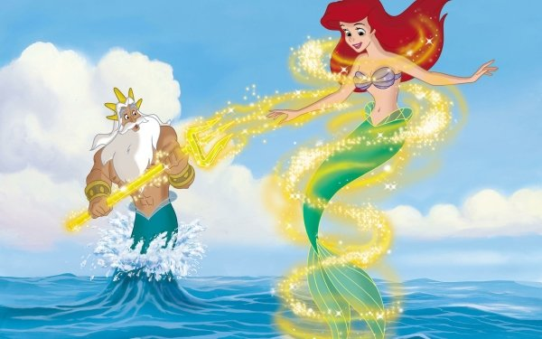 Movie The Little Mermaid II: Return to the Sea The Little Mermaid Ariel King Triton Mermaid Merman Red Hair Tail Trident HD Wallpaper | Background Image